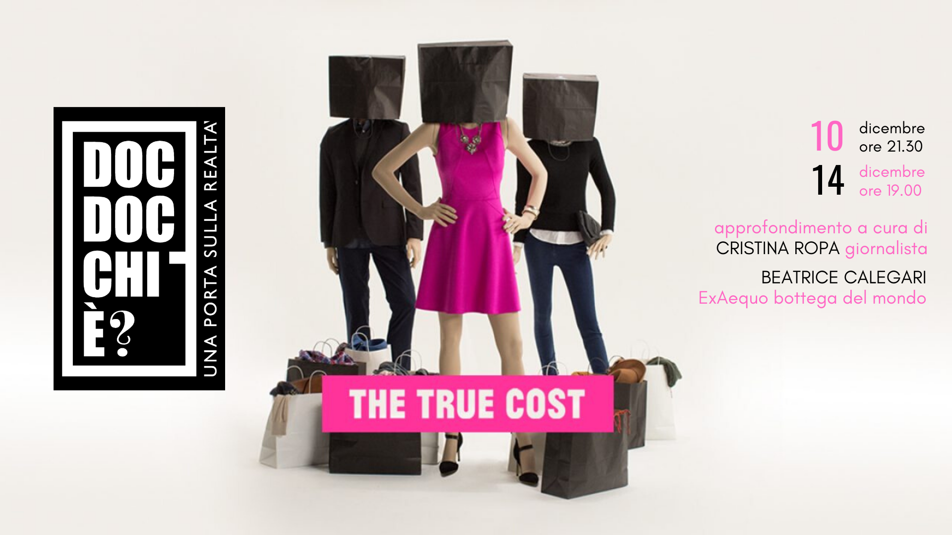 the true cost.cover evento logo doc doc ospiti